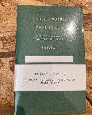 Public Supply Notebooks Small - 3 Pack Green Ruled