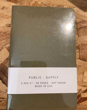 Public Supply Notebooks Small 3 Pack - Army Green Dot