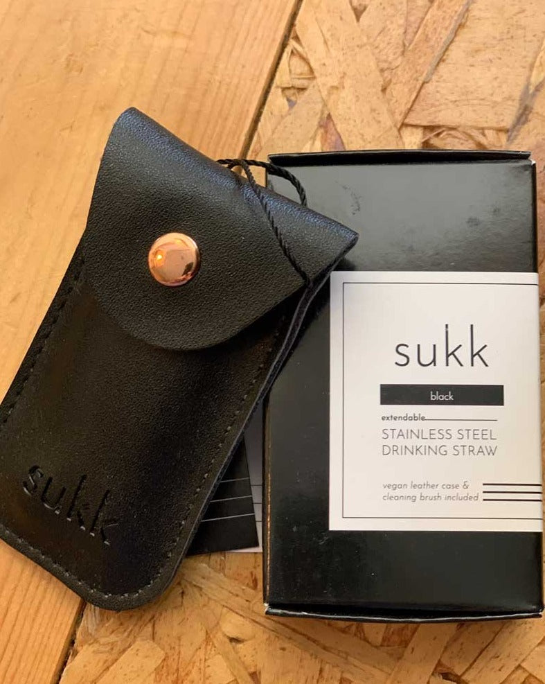 Sukk Single Straw Leather Pouch - Black