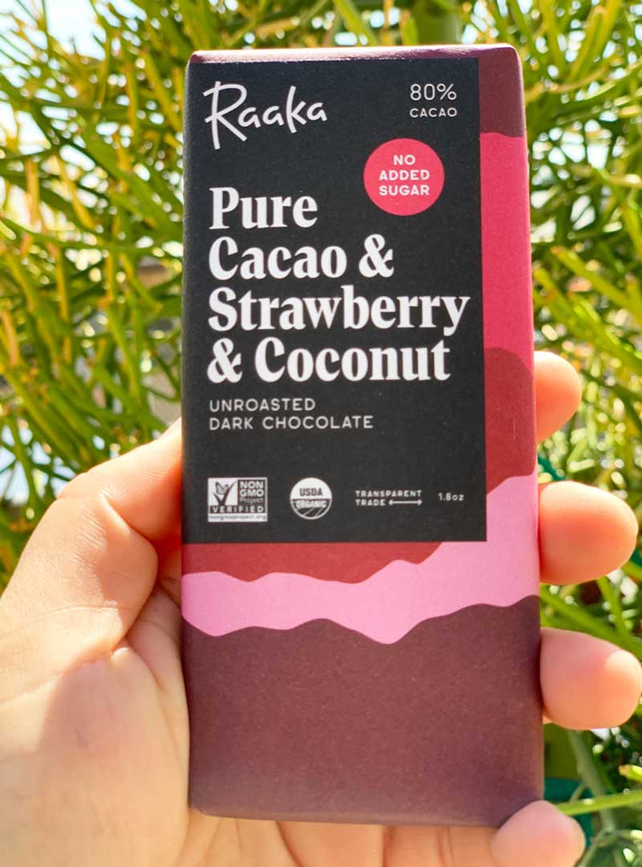Raaka Strawberry and Coconut Chocolate Bar