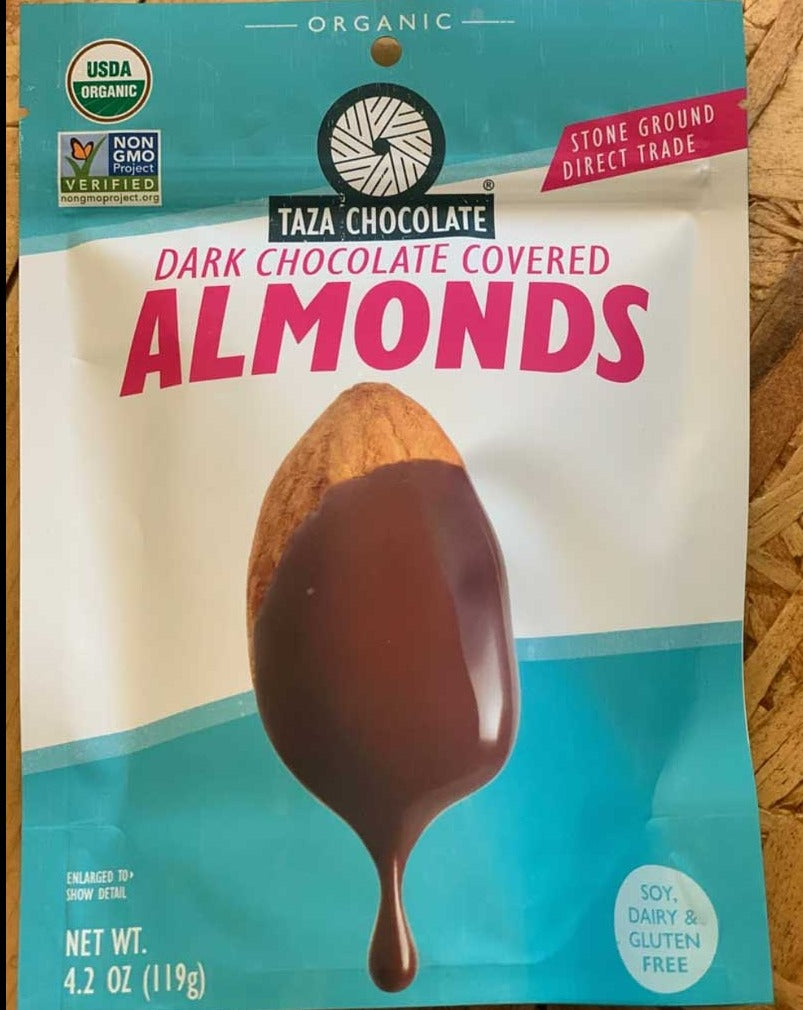 Taza Dark Chocolate Covered Almonds. Stone ground, non-GMO. Soy, dairy, gluten free. Organic.