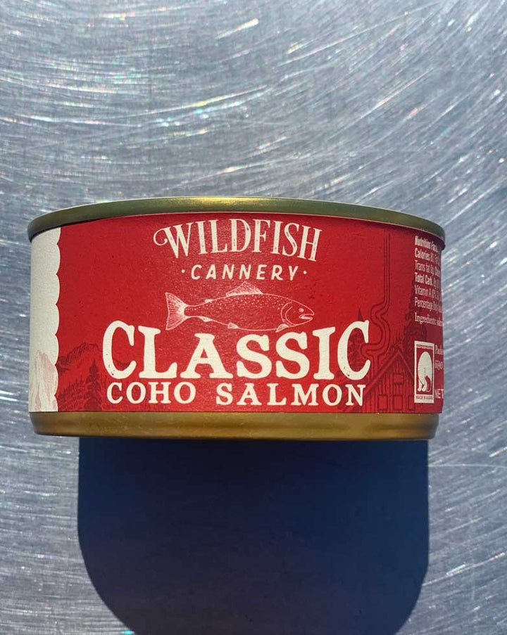 Tasting Notes: This is your chance to savor the rich, delicious flavor of coho salmon without the smoke. Lightly seasoned with garlic, onion, and white pepper to bring out the salmon's natural flavors.   Serve It Up: Enjoy this product straight from the tin or as the star protein in your favorite seafood chowder. This is the perfect ingredient for traditional fish cakes. Mix the salmon with seasoned mashed potatoes and fry until crisp and golden brown for comfort food that connects generations.