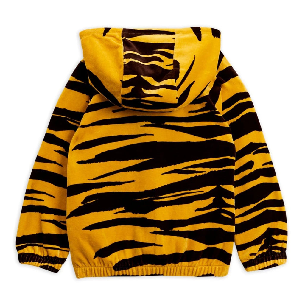 Tiger Velour Zip Hood Brown