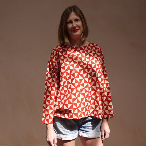 Block Printed Smock Top Fuji