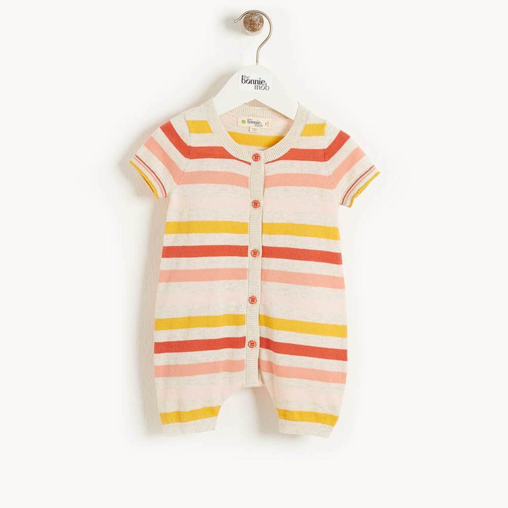 Azur Baby Striped Playsuit Peach