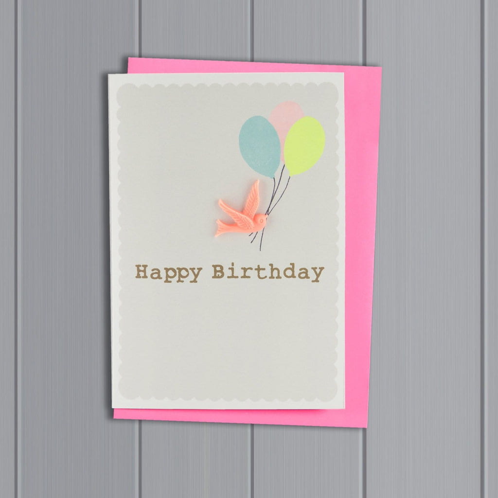 Resin Bird Happy Birthday Grey Card
