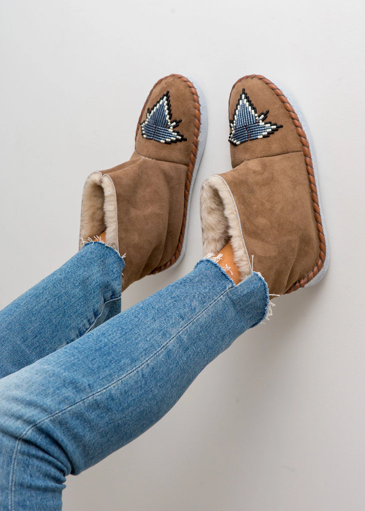 Beaded Sheepksin Boots Slate Blue