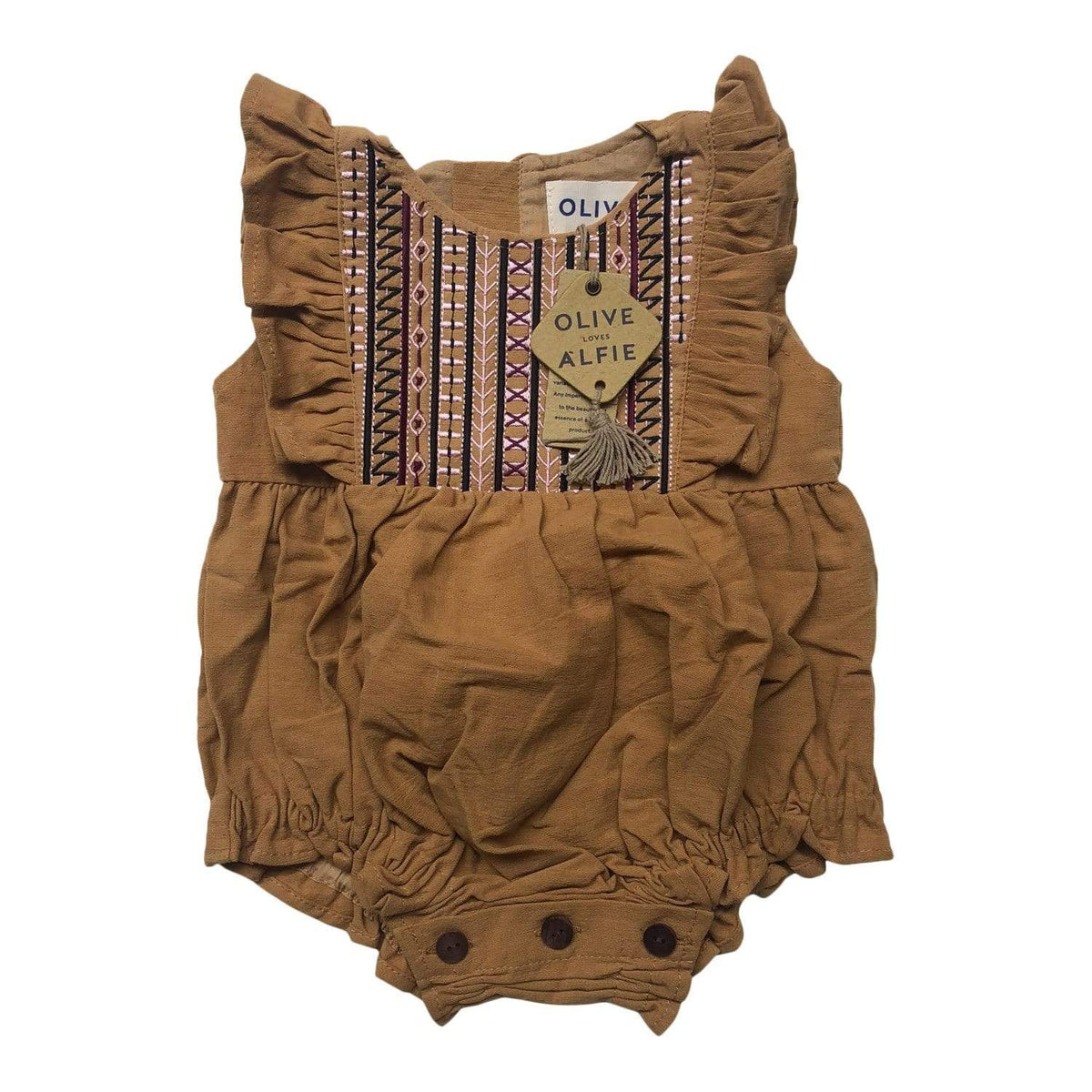 Olive Embroidered Romper Mango