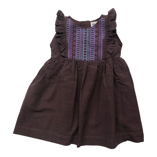 Iris Embroidered Dress Mahogany