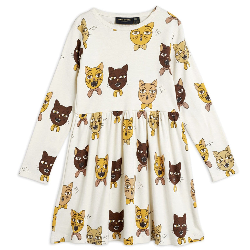 Cat Choir AOP LS Dress Off White