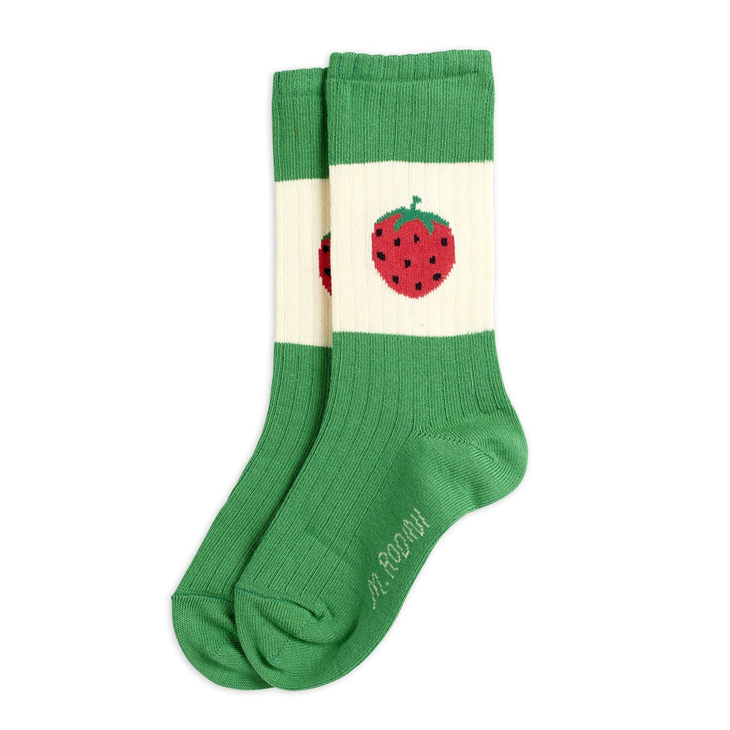 Strawberry Ribbed Socks Green