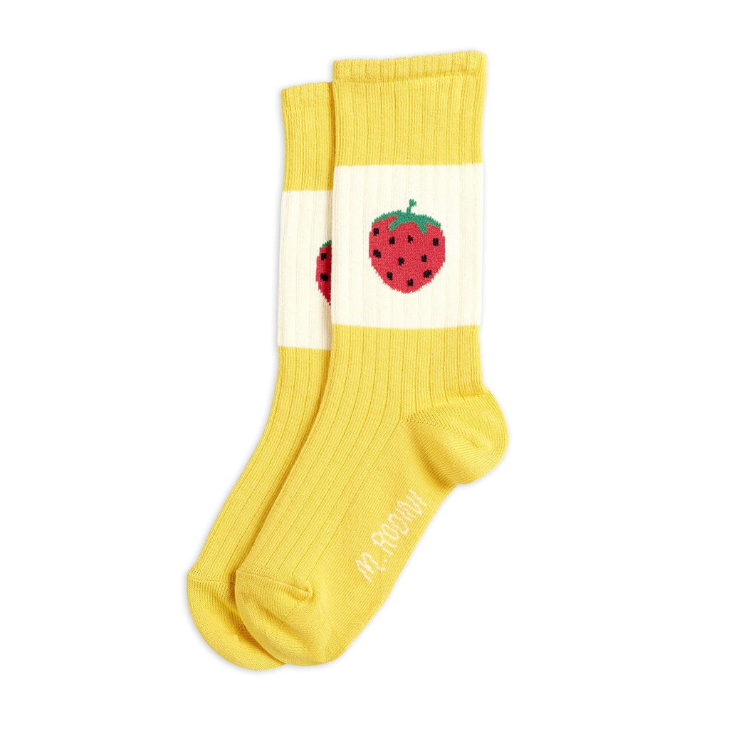 Strawberry Ribbed Socks Yellow