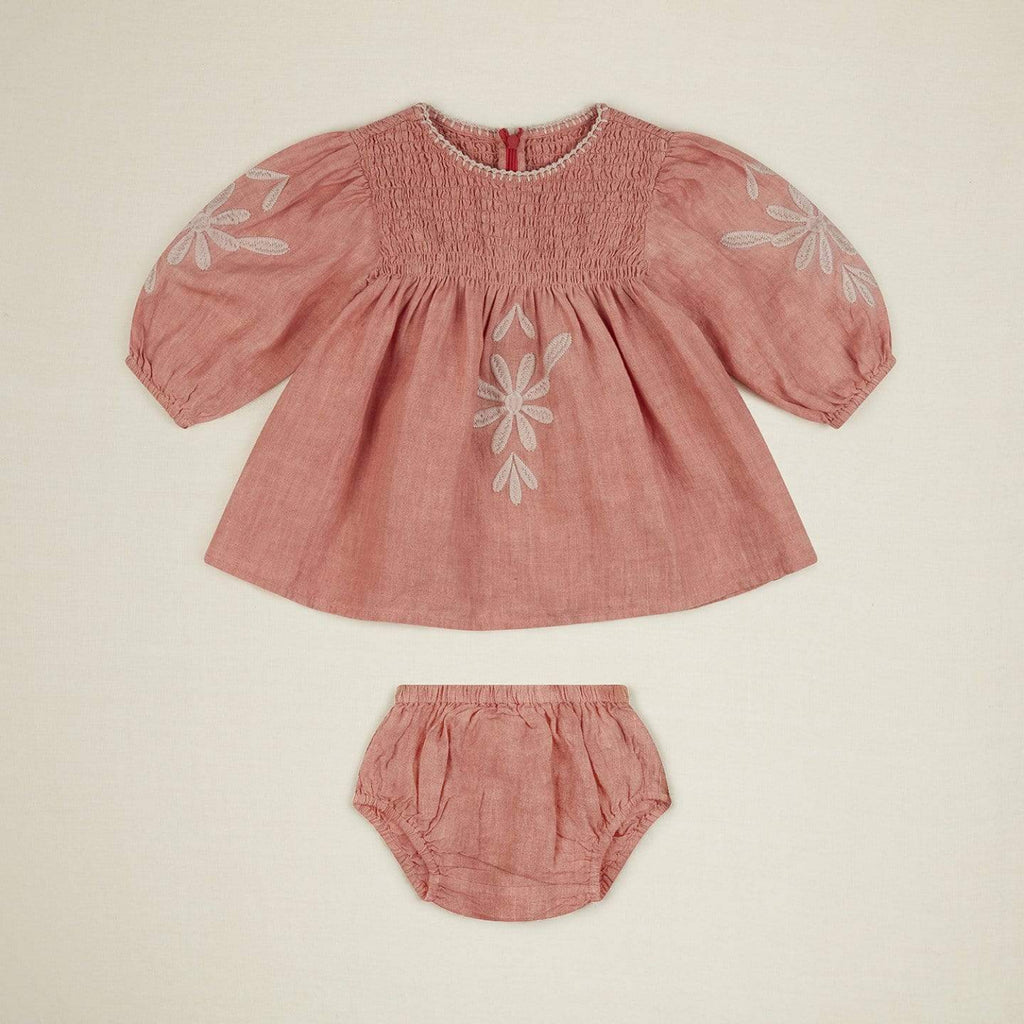 Noelle Baby Dress Set Faded Coral