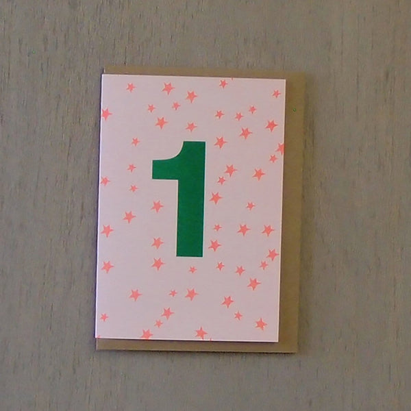 Riso 1st Birthday Card Orange/Green