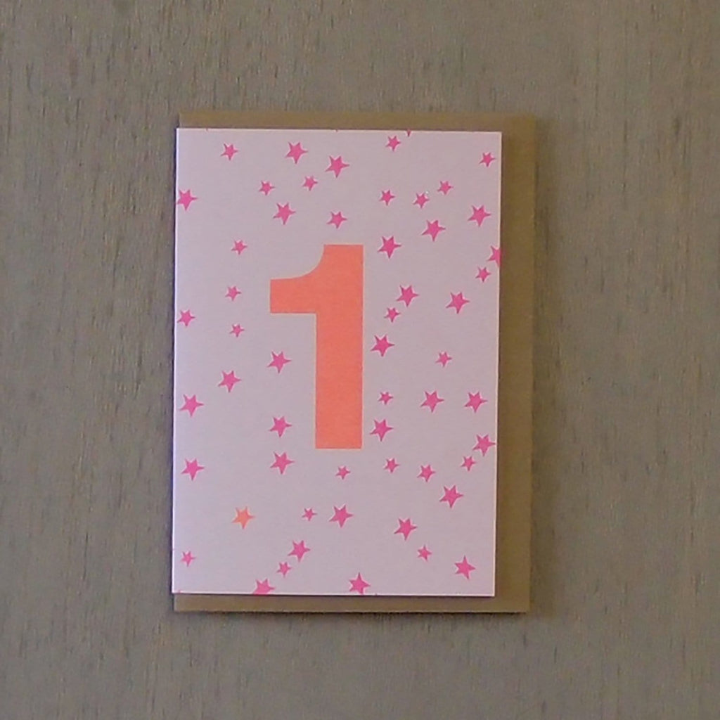 Riso 1st Birthday Card Pink/Orange