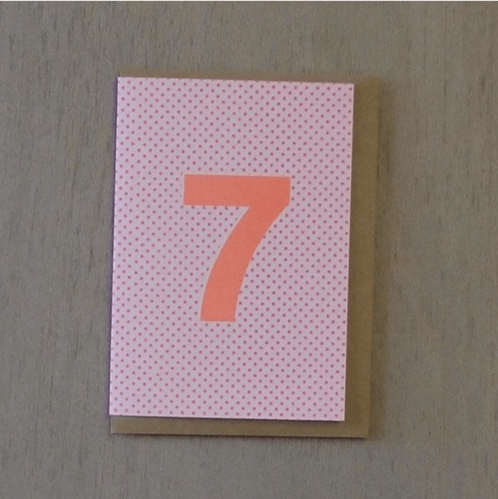Riso 7th Birthday Card Pink/Orange
