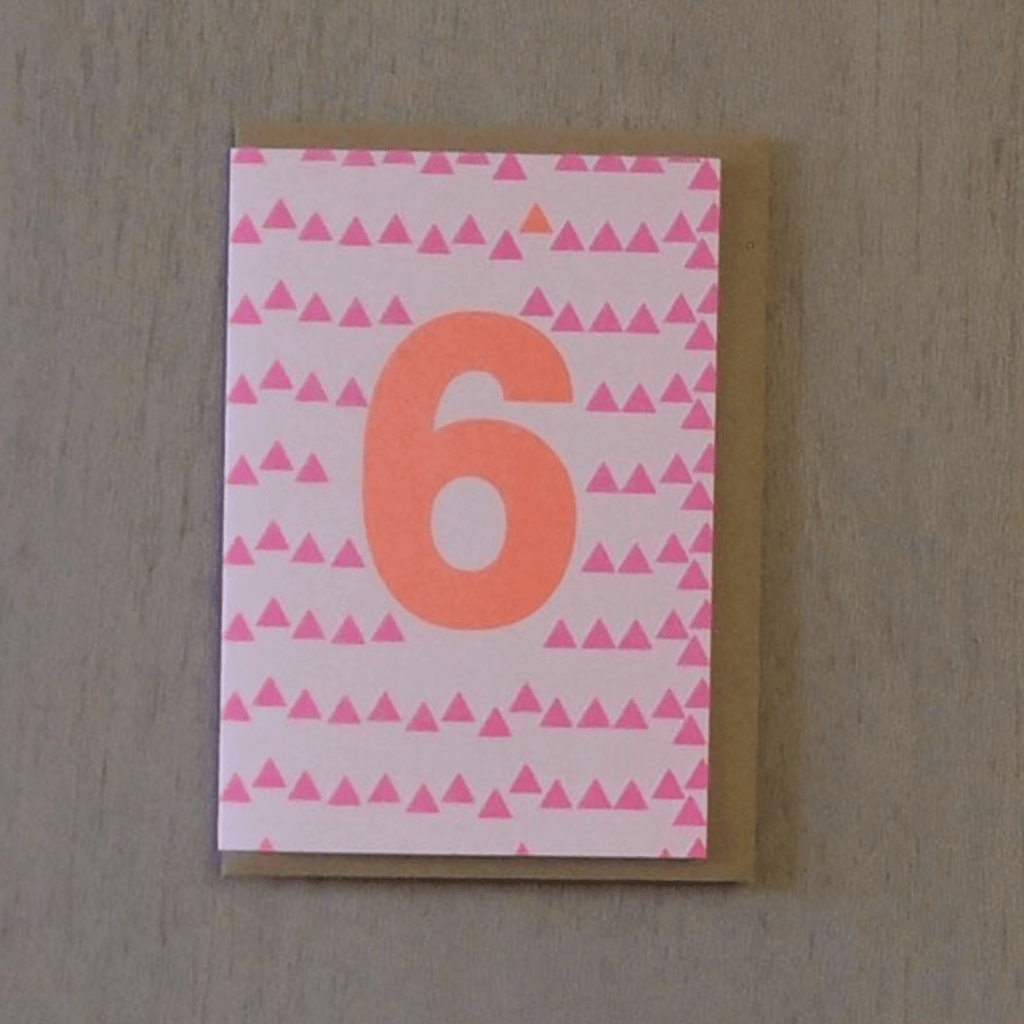 Riso 6th Birthday Card Pink/Orange