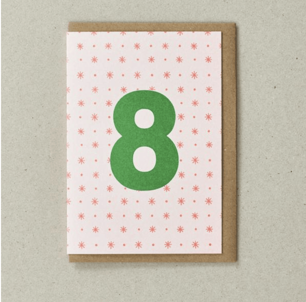 Riso 8th Birthday Card Orange/Green