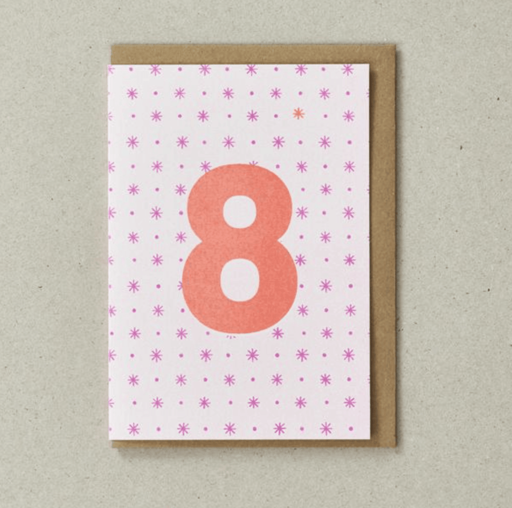 Riso 8th Birthday Card Pink/Orange