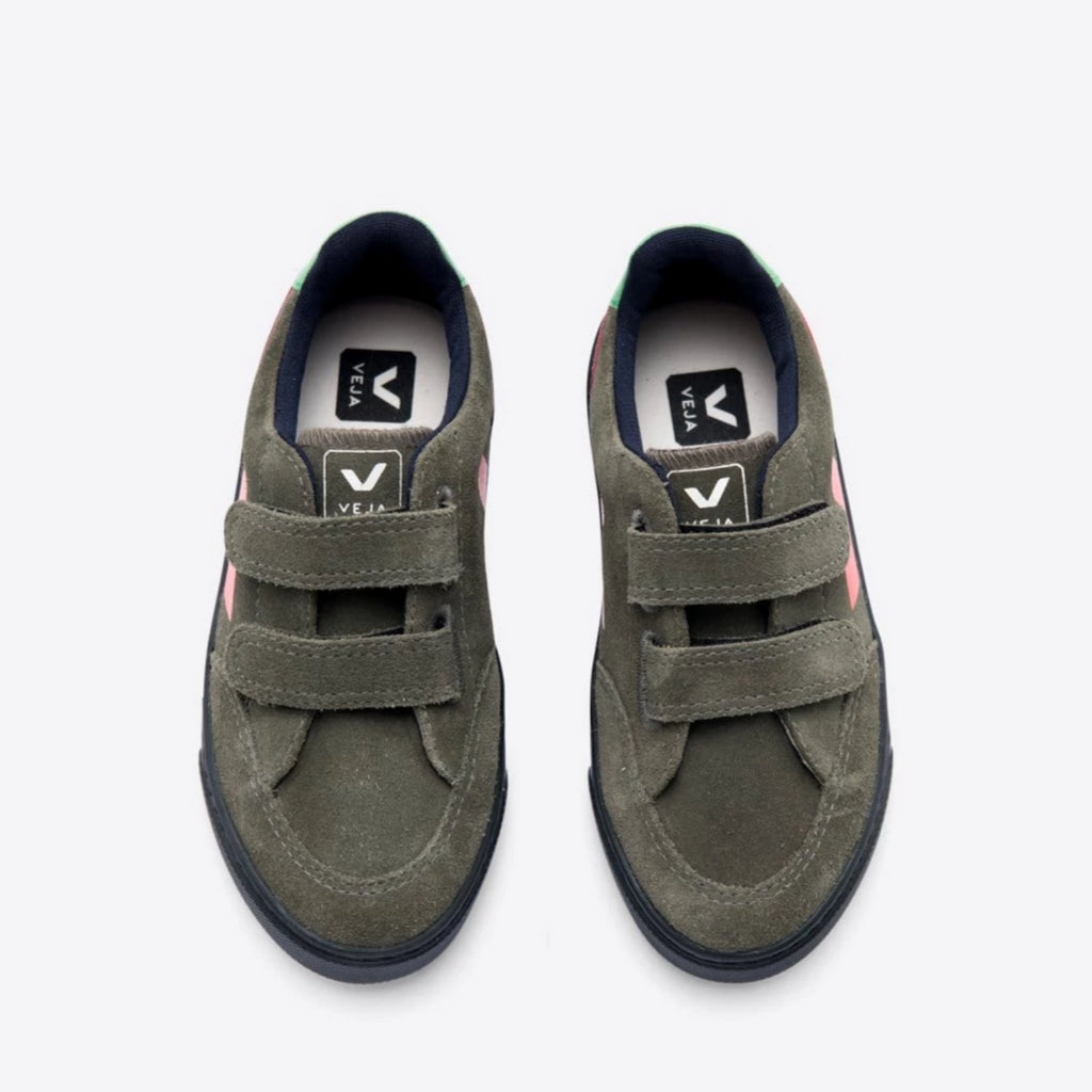 Velcro Suede Olive Multico Black Sole