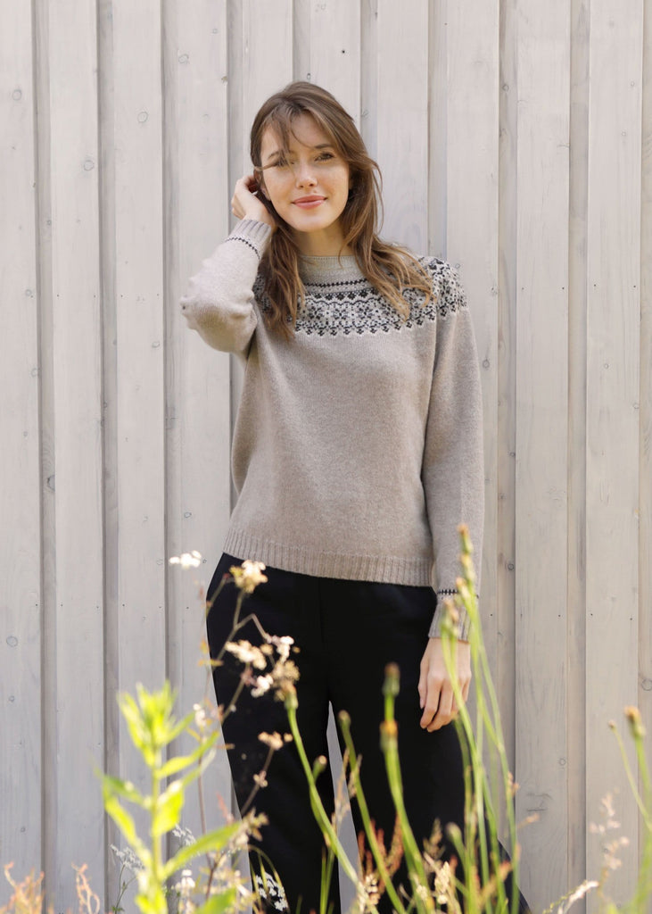 Fairisle Yoke Sweater Grey