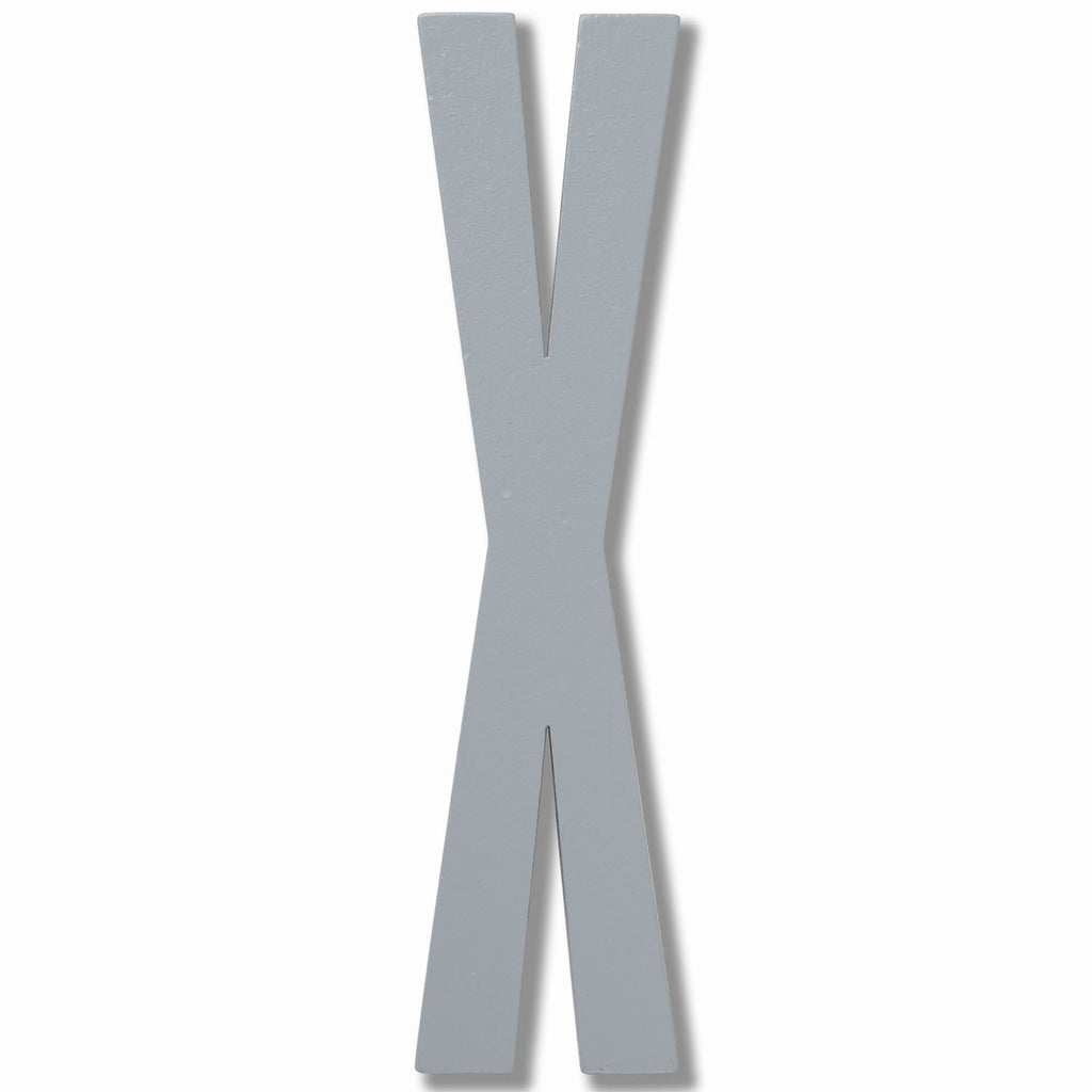 Wooden Letter X Grey