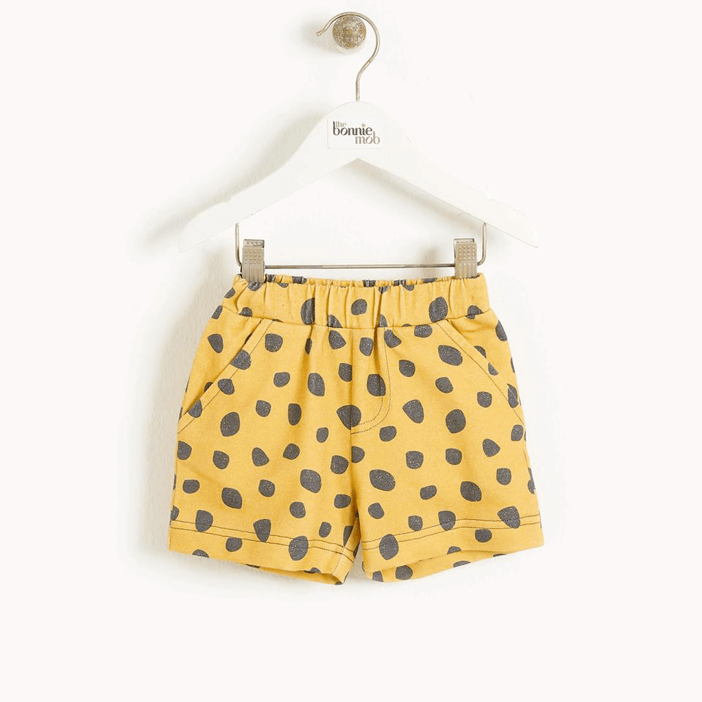 Miami Kids Shorts Mustard Leopard
