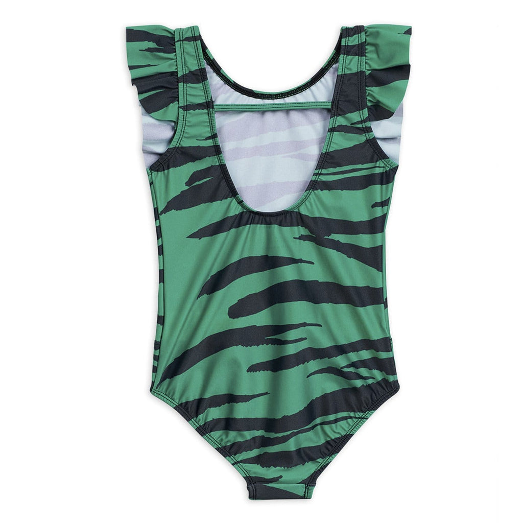 Tiger Ruffled Swimsuit Green
