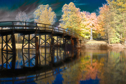 Color infrared panorama of Old North Bridge, Concord MA