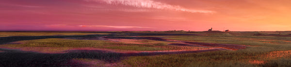 Color infrared panorama of Salt Marsh & Race Point Light Station at Sunset, Provincetown