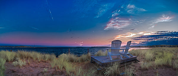 Color infrared panorama of Adirondack Chairs at Dusk, Wellfleet