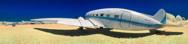 Color infrared panorama of Douglas DC-3, Cape Cod Airfield, Barnstable
