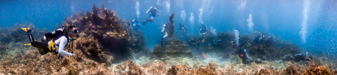 Underwater panorama of Christ of the Abyss Statue, Key Largo Dry Rocks, Key Largo