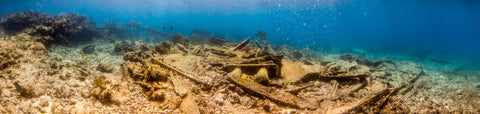 Underwater panorama of the Wreck of the Hannah M. Bell #1, Key Largo