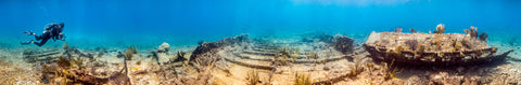 Underwater panorama of the Wreck of the Hannah M. Bell, Key Largo