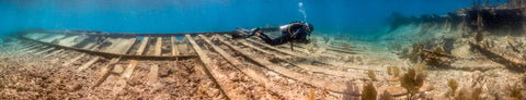 Underwater panorama of the Wreck of the Hannah M. Bell #3, Key Largo