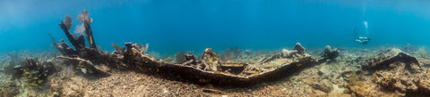 Underwater panorama of the Wreck of the City of Washington #2, Key Largo