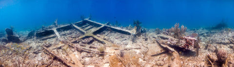 Underwater panorama of the Wreck of the City of Washington #3, Key Largo