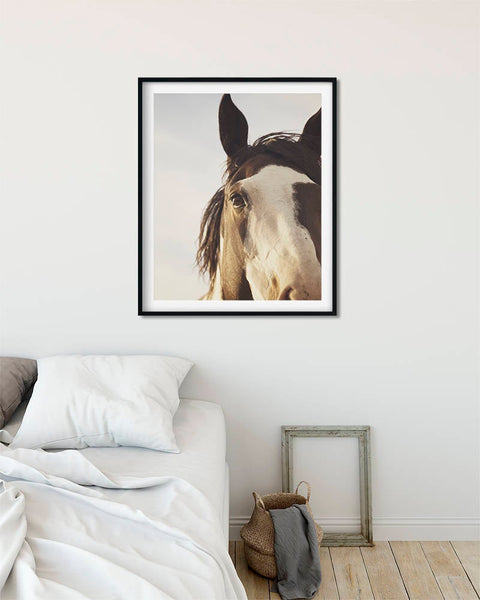 Large Vertical Horse Photo, Modern Equine Art, Paint Horse in Rustic Color, Physical Print