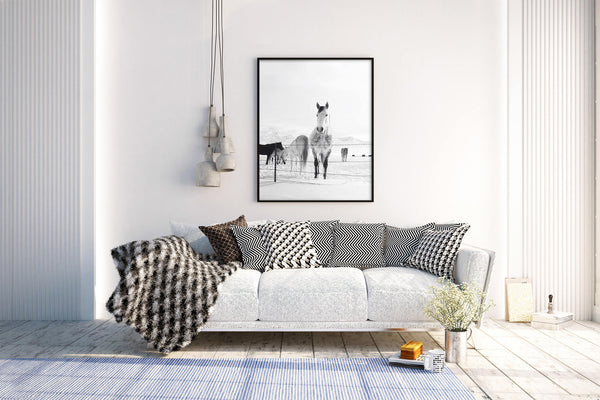Winter Horse Photograph, Black and White Western Horse Art, Horse Wall Art