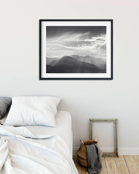 Mountain Landscape Photograph in Black and White, Physical Print