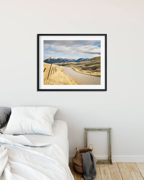 Country Road to Snowy Mountains Landscape Photograph, Western Mountains Photography, Physical Print