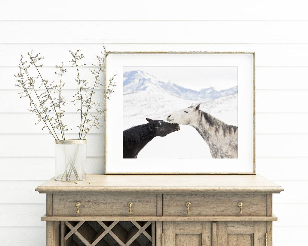 Horses in Snow Print, Winter Equestrain Photography, Color Horse Photograph, Physical Print