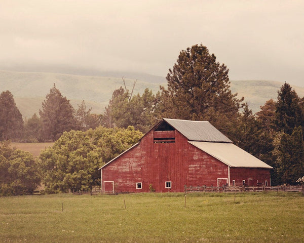 Red Barn Photograph, Country Cute Art, Farm Photography, Physical Print