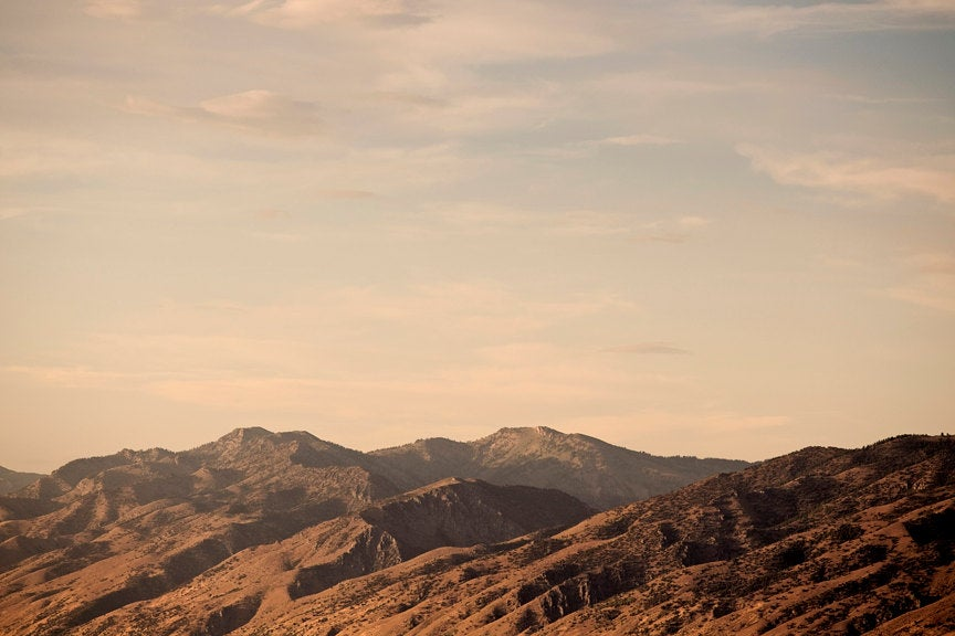 Rugged Mountain Photograph, Rustic Brown Mountains at Sunset, Mountain Art, Physical Print