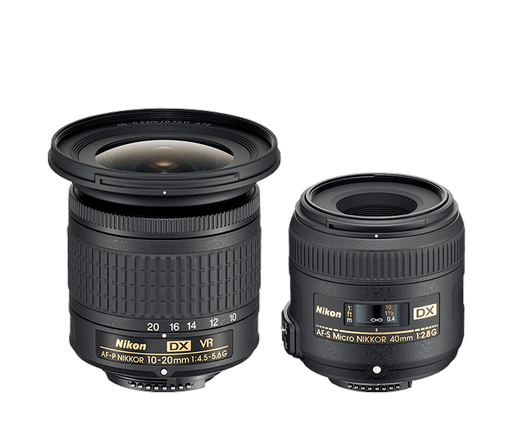 Nikon DX landscape/macro kit 10-20mm, 40mm micro.