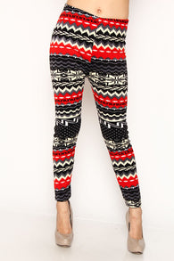 Red and Black Print Leggings