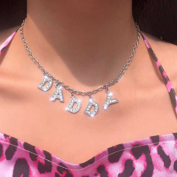 BITCH - DADDY - ANGEL Rhinestone Letter Pendants Choker Necklace