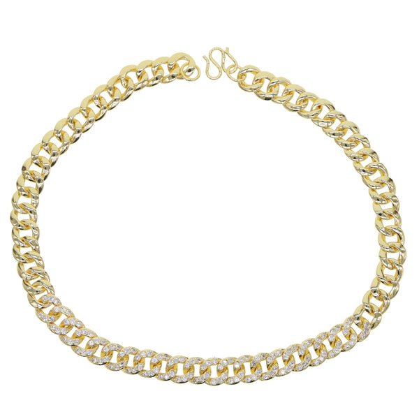 Yesi Gold filled micro pave cuban link chain