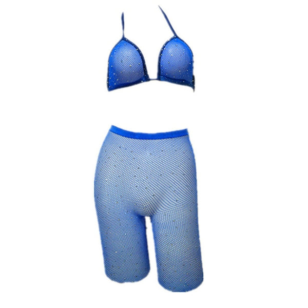 Rhinestones Fishnet Bra & Leggings Set